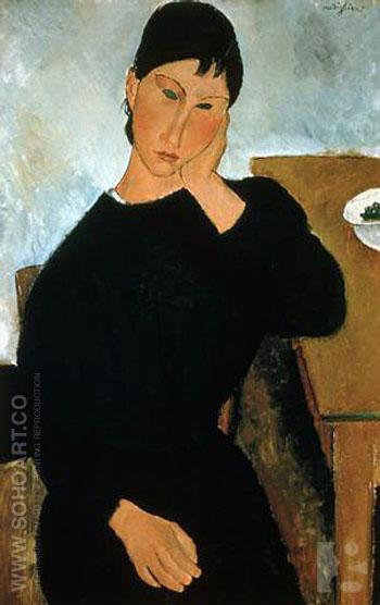 Elvira Resting at a Table - Amedeo Modigliani reproduction oil painting