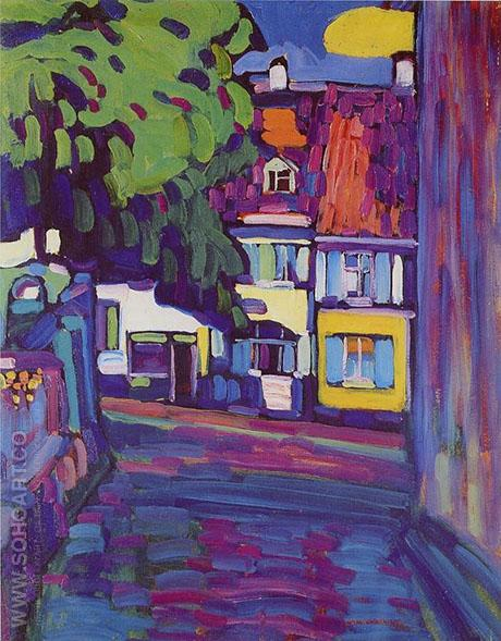 Murnau Houses in the Obermarkt 1908 - Wassily Kandinsky reproduction oil painting