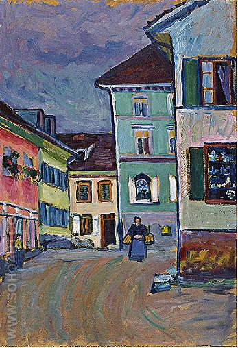 Murnau Top of the Johannisstrasse, 1908 - Wassily Kandinsky reproduction oil painting