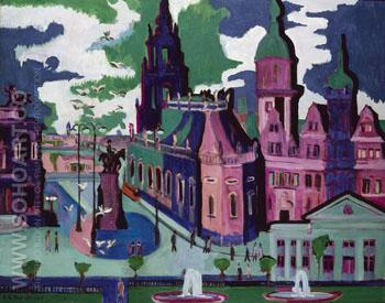 View of Dresden Schlossplatz 1926 - Ernst Kirchner reproduction oil painting