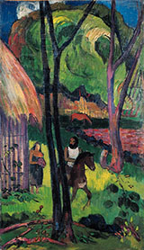 Cavalier Devant la Case 1902 - Paul Gauguin reproduction oil painting