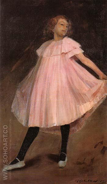 Dancer in Pink Dress 1902 - William Glackens reproduction oil painting