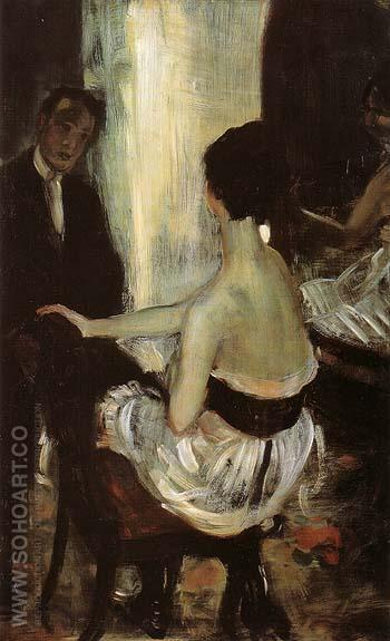 Seated Actress With Mirror 1903 - William Glackens reproduction oil painting