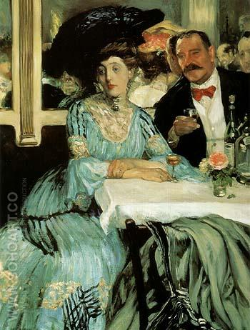 Chez Mouquin 1905 - William Glackens reproduction oil painting