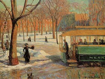 The Green Car 1910 - William Glackens reproduction oil painting