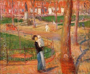 Mother and Baby Washington Square 1914 - William Glackens reproduction oil painting