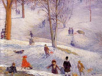 Sledding Central Park 1912 - William Glackens reproduction oil painting