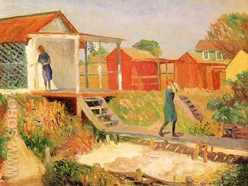At The Beach Bellport The Boardwalk 1910 - William Glackens reproduction oil painting