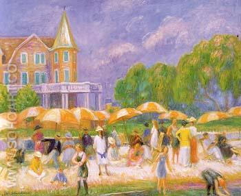 Beach Umbrellas at Blue Point 1916 - William Glackens reproduction oil painting