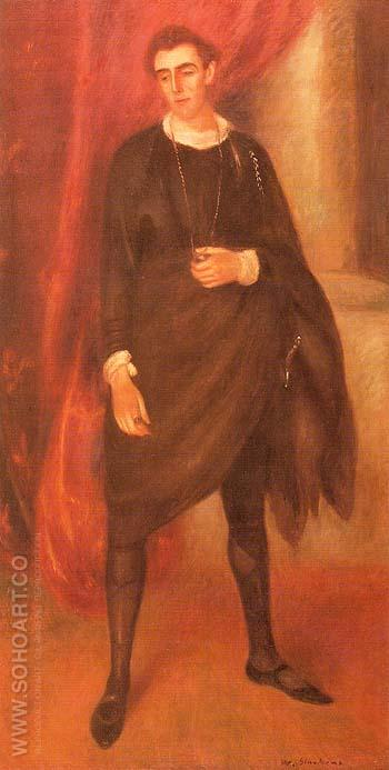 Portrait of Walter Hampden as Hamlet 1919 - William Glackens reproduction oil painting