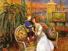 The Conservatory Lenna and Her Mother in the Conservatory 1917 - William Glackens reproduction oil painting