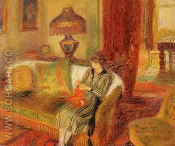 The Artist s Wife Knitting 1920 - William Glackens reproduction oil painting