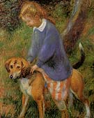 Lenna With Rabbit Hound 1922 - William Glackens reproduction oil painting