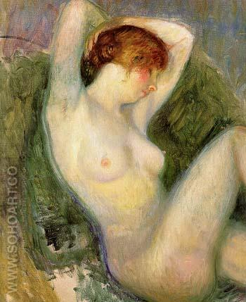 Nude in Green Chair After 1924 - William Glackens reproduction oil painting