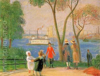 Carl Schurz Park New York 1922 - William Glackens reproduction oil painting