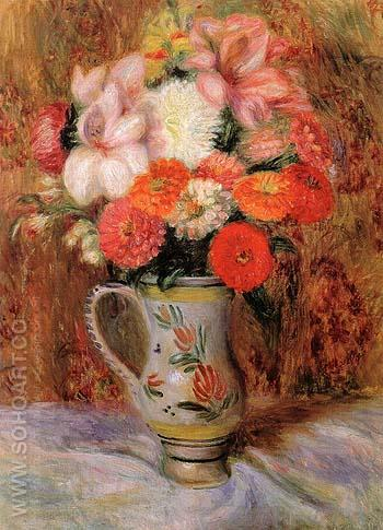 Flowers in a Quimper Pitcher - William Glackens reproduction oil painting