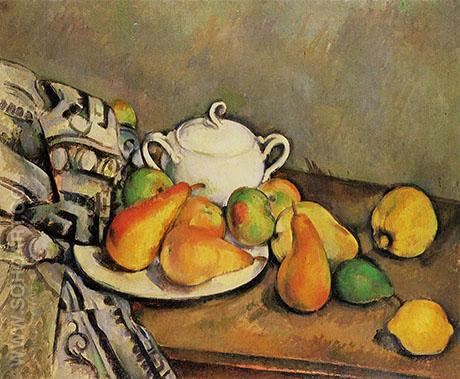 Sugar Bowl, Pears and Rug 1888 - Paul Cezanne reproduction oil painting
