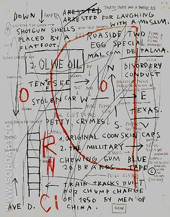 Untitled Olive Oil 1982 - Jean-Michel-Basquiat reproduction oil painting