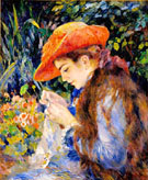 Marie-Therese Durand-Ruel Sewing 1882 - Pierre Auguste Renoir reproduction oil painting