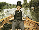 Boatman in Top Hat  c1877 - Gustave Caillebotte reproduction oil painting