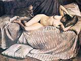 Naked Woman Lying on a Couch 1873 - Gustave Caillebotte reproduction oil painting
