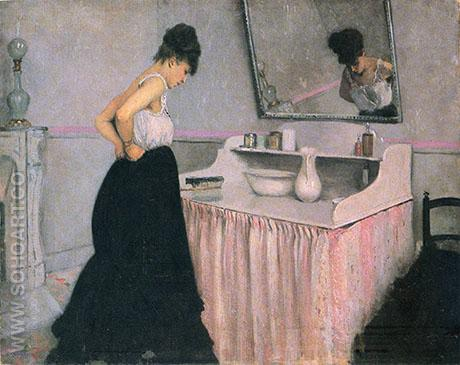 Woman at a Dressing Table  c1873 - Gustave Caillebotte reproduction oil painting