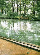 River Bank in the Rain  c 1885 - Gustave Caillebotte reproduction oil painting