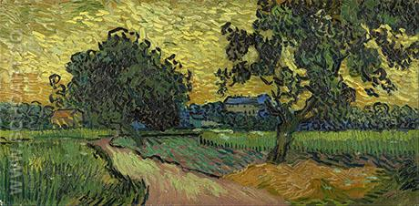 Landscape at Twilight 1890 - Vincent van Gogh reproduction oil painting