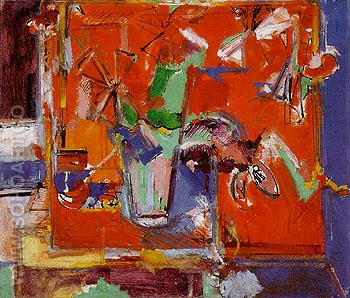 Red Table and Vase of Flowers 1942 - Hans Hofmann reproduction oil painting