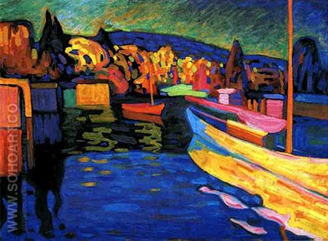 Autumn Landscape with Boats 1908 - Wassily Kandinsky reproduction oil painting