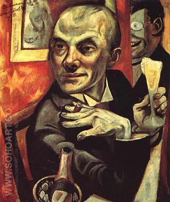 Self Portrait with Champagne Glass 1919 - Max Beckmann reproduction oil painting