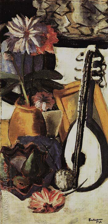 Still Life with Violet Dahlias - Max Beckmann reproduction oil painting