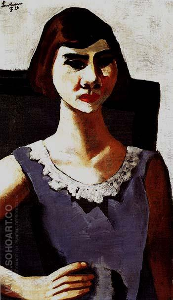 Portrait of Quappi in Blue 1926 - Max Beckmann reproduction oil painting