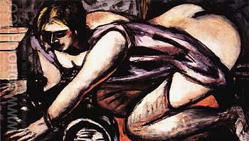 Semi Nude with Cat 1945 - Max Beckmann reproduction oil painting