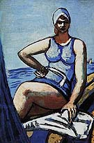 Quappi in Blue in a Boat - Max Beckmann reproduction oil painting