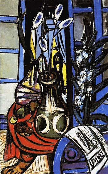 Large Still Life Interior Blue 1949 - Max Beckmann reproduction oil painting
