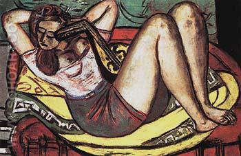 Woman with Mandolin in Yellow and Red 1950 - Max Beckmann reproduction oil painting