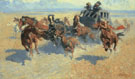 Downing the Nigh Leader - Frederic Remington reproduction oil painting