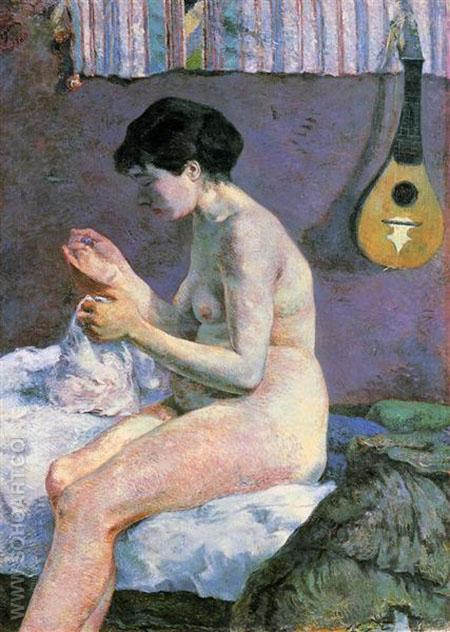 Nude Study or Suzanne Sewing 1880 - Paul Gauguin reproduction oil painting