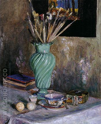 Still Life with Vase of Brushes 1906 - Gabriele Munter reproduction oil painting