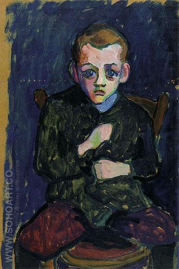 Portrait of a Young Boy 1908 - Gabriele Munter reproduction oil painting