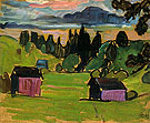 View of the Murnau Moors 1908 - Gabriele Munter reproduction oil painting
