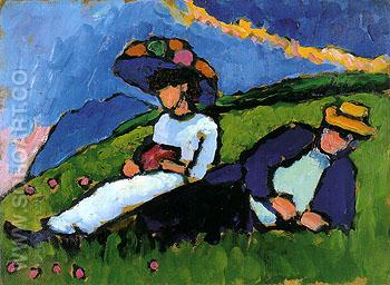 Jawlensky and Werefkin 1909 - Gabriele Munter reproduction oil painting