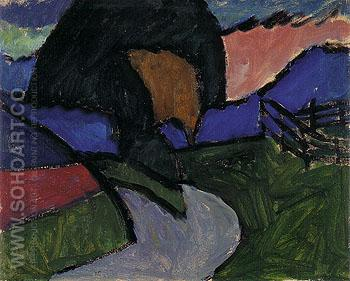 Autumn Landscape 1910 - Gabriele Munter reproduction oil painting