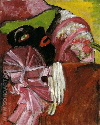 Black Mask With Pink 1912 - Gabriele Munter reproduction oil painting