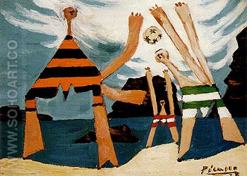 Bathers with a Ball 1928 - Pablo Picasso reproduction oil painting