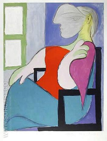 Femme Assise Pres d`une Fenetre 1932 - Pablo Picasso reproduction oil painting
