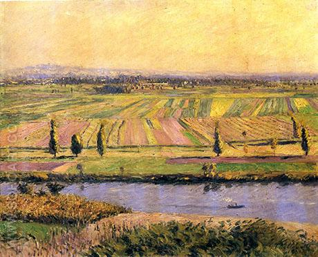 The Gennevilliers Plain seen from Argenteuil 1888 - Gustave Caillebotte reproduction oil painting