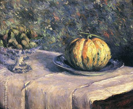 Melon and Bowl of Figs c1880 - Gustave Caillebotte reproduction oil painting