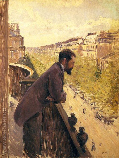 The Man on the Balcony c1880 - Gustave Caillebotte reproduction oil painting